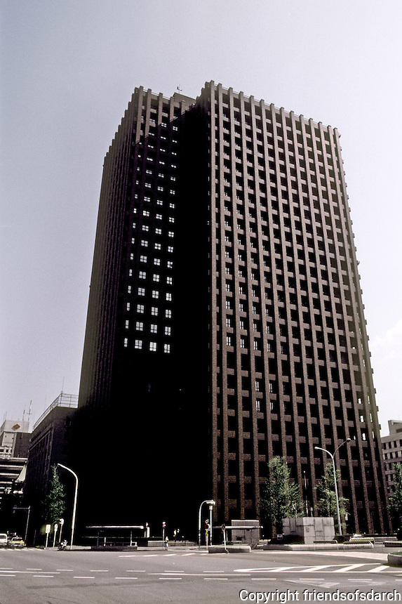 Tokyo: Tokio Kaijo Building (after the Wainwright?)  Steel & concrete, Modern. Kunio Mayekawa, one of the architects. Photo '82.