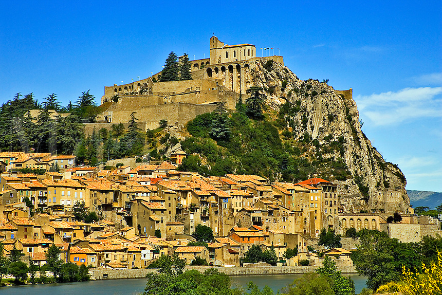 Sisteron. Gateway to Provence. Old city and Citadel on the River Durance in the Alpes de Haute Provence. France.