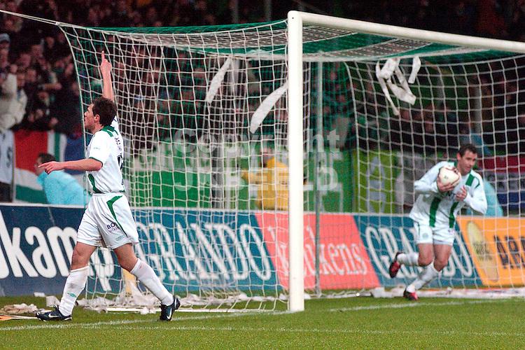 groningen - psv 01-02-2006 kwartfinale gastorade cup seizoen 2005-2006 fledderus juicht na de 2-3