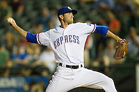 Round Rock Express pitcher Sean Green #55 delivers a pitch during the Pacific Coast League baseball game against the Sacramento River Cats on May 24, 2012 at the Dell Diamond in Round Rock, Texas. The Express defeated the River Cats 5-3. (Andrew Woolley/Four Seam Images).