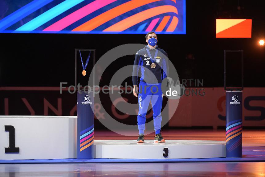 SPEEDSKATING: DORDRECHT: 06-03-2021, ISU World Short Track Speedskating Championships, Podium 500m Men, Pietro Sighel (ITA), ©photo Martin de Jong