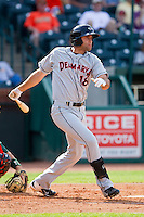 Nik Balog (18) of the Delmarva Shorebirds follows through on his swing against the Greensboro Grasshoppers at NewBridge Bank Park on May 26, 2013 in Greensboro, North Carolina.  The Grasshoppers defeated the Shorebirds 11-2.  (Brian Westerholt/Four Seam Images)