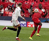 14th September 2021; Sevilla, Spain: UEFA Champions League football, Sevilla FC versus RB Salzburg; Oumar Solet of Salzburg and Youssef En-Nesyri of Sevilla in action