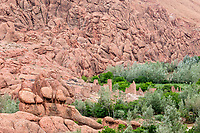Dades Gorge, Morocco.  Ruins of Abandoned Family Ksar with Mountain Backdrop.