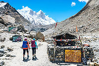The Shivling trek in the Indian Himalaya starts with a three drive from Delhi to Gangotri, a Hindu holy place along the Ganges River. From Gangotri, a two day walk reaches both the Tapovan or Nandanvan basecamp at the base of Shivling, 6543 meters, and from there numerous trails can be explored. Passing a Sadhu's hut in Gaumukh at the source of the river Ganges.