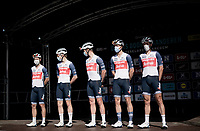 Only 5-man strong Team Trek-Segafredo are happy to even be at the race start/team presentation this morning as they were suspended from racing Gent-Wevelgem some days before due to a Covid-positive test in their team<br /> <br /> 76th Dwars door Vlaanderen 2021 (MEN1.UWT)<br /> 1 day race from Roeselare to Waregem (184km)<br /> <br /> ©kramon