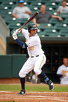 Montgomery Biscuits third baseman Patrick Leonard (20) at bat during a game against the Tennessee Smokies on May 25, 2015 at Riverwalk Stadium in Montgomery, Alabama.  Tennessee defeated Montgomery 6-3 as the game was called after eight innings due to rain.  (Mike Janes/Four Seam Images)