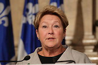 Montreal, CANADA - File Photo - Quebec Premier and PQ Leader Pauline Marois at Montreal City Hall, during the 2014 electoral campaign.<br /> <br /> <br /> Photo : Agence Quebec Pressse - Pierre Roussel