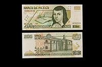 Mexico, North America.  Two Hundred Pesos Banknote, showing Sister Juana de Asbaje (Juana Ines de la Cruz), a 17th-century nun, poet, and writer.  Convent of San Jeronimo on the back.