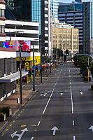 Customhouse Quay at 8.30am in Wellington CBD during quarantine lockdown for COVID19 pandemic in Wellington, New Zealand on Monday, 6 April 2020. Photo: Dave Lintott / lintottphoto.co.nz