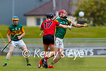 Fionan O'Sullivan, Kerry in action against Marc Fisher, Down during the National hurling league between Kerry v Down at Austin Stack Park, Tralee on Sunday.