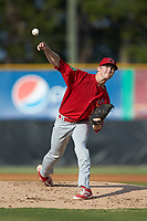 Johnson City Cardinals starting pitcher Tommy Parsons (12) delivers a pitch to the plate against the Burlington Royals at Burlington Athletic Stadium on July 15, 2018 in Burlington, North Carolina. The Cardinals defeated the Royals 7-6.  (Brian Westerholt/Four Seam Images)