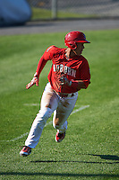 Auburn Doubledays left fielder Oliver Ortiz (18) running the bases during a game against the Mahoning Valley Scrappers on June 19, 2016 at Falcon Park in Auburn, New York.  Mahoning Valley defeated Auburn 14-3.  (Mike Janes/Four Seam Images)