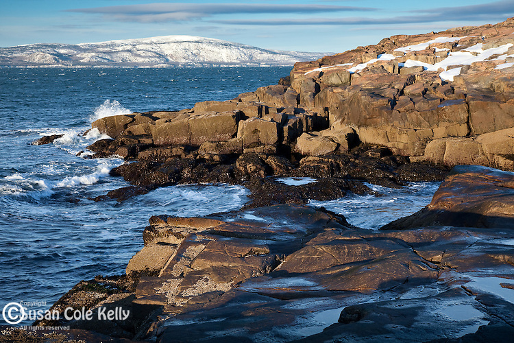 Winter morning on Cadillac Mountain and Schoodic Point in Acadia National Park, Downeast, ME, USA