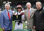 October 11, 2014:  Crown Queen and John Velazquez win the 31st running of the Queen Elizabeth II Challenge Cup Grade 1 $500,000 for owner Besilu Stables and trainer Bill Mott .  Candice Chavez/ESW/CSM