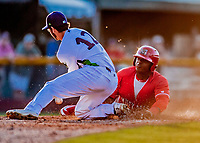 29 July 2018: Batavia Muckdogs outfielder Albert Guaimaro slides home safely in the 8th inning against the Vermont Lake Monsters at Centennial Field in Burlington, Vermont. The Lake Monsters defeated the Muckdogs 4-1 in NY Penn League action. Mandatory Credit: Ed Wolfstein Photo *** RAW (NEF) Image File Available ***
