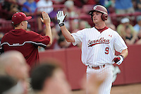 Third baseman Joey Pankake (9) of the South Carolina Gamecocks in an NCAA Division I Baseball Regional Tournament game against the Campbell Camels on Friday, May 30, 2014, at Carolina Stadium in Columbia, South Carolina. South Carolina won, 5-2. (Tom Priddy/Four Seam Images)