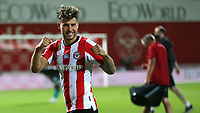 Emiliano Marcondes of Brentford celebrates their victory at the final whistle during Brentford vs Swansea City, Sky Bet EFL Championship Play-Off Semi-Final 2nd Leg Football at Griffin Park on 29th July 2020