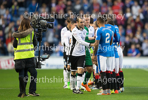Rangers v St Johnstone...22.09.15  Scottish League Cup Round 3, Ibrox Stadium<br /> Dave Mackay leads the players out before kick off<br /> Picture by Graeme Hart.<br /> Copyright Perthshire Picture Agency<br /> Tel: 01738 623350  Mobile: 07990 594431