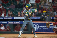 Andy Thomas (25) of the Baylor Bears at bat against the Arkansas Razorbacks in game nine of the 2020 Shriners Hospitals for Children College Classic at Minute Maid Park on March 1, 2020 in Houston, Texas. The Bears defeated the Razorbacks 3-2. (Brian Westerholt/Four Seam Images)