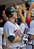 29 September 2012: Minnesota Twins catcher Ryan Doumit watches a replay of his 8th inning Grand Slam against the Detroit Tigers at Target Field in Minneapolis, MN. The Tigers defeated the Twins 6-4 in the second game of their 3-game series. Mandatory Credit: Ed Wolfstein Photo