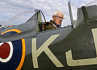 Spitfire pilot Annæus Schjødt (94) in the back seat. Norwegian Spitfire Foundation invited Norwegian WWII Spitfire veterans to fly in Spitfire, at the historical airfield Kjeller in Norway.
