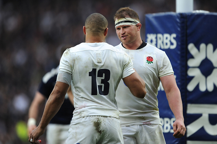 Jonathan Joseph of England is congratulated by Dylan Hartley of England after scoring a try during the RBS 6 Nations match between England and Scotland at Twickenham Stadium on Saturday 11th March 2017 (Photo by Rob Munro/Stewart Communications)