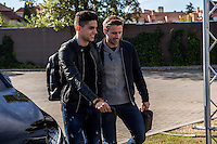 Spainsh Marc Bartra and Nacho Monrreal arriving at the concentration of the spanish national football team in the city of football of Las Rozas in Madrid, Spain. November 08, 2016. (ALTERPHOTOS/Rodrigo Jimenez) ///NORTEPHOTO.COM