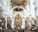 Germany, Bavaria, Upper Bavaria, Ammer Lake, Diessen: baroque Marienmuenster, inside, altar