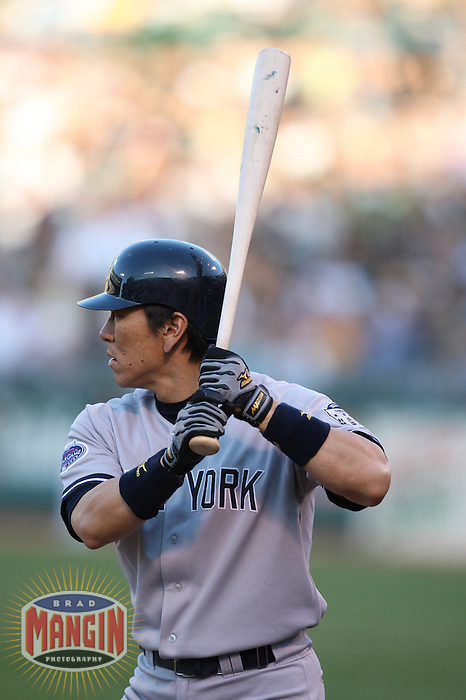OAKLAND, CA - JUNE 11:  Hideki Matsui of the New York Yankees bats during the game against the Oakland Athletics at the McAfee Coliseum in Oakland, California on June 11, 2008.  The Athletics defeated the Yankees 8-4.  Photo by Brad Mangin