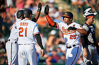 Baltimore Orioles designated hitter Anthony Santander (25) is congratulated by Alcides Escobar (1) and Austin Hays (21) after hitting a home run in the bottom of the fourth inning during a Grapefruit League Spring Training game against the Detroit Tigers on March 3, 2019 at Ed Smith Stadium in Sarasota, Florida.  Baltimore defeated Detroit 7-5.  (Mike Janes/Four Seam Images)