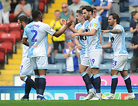 Blackburn Rovers' Ben Brereton celebrates scoring the opening goal with team-mate Ryan Nyambe<br /> <br /> Photographer Kevin Barnes/CameraSport<br /> <br /> The EFL Sky Bet Championship - Blackburn Rovers v Bolton Wanderers - Monday 22nd April 2019 - Ewood Park - Blackburn<br /> <br /> World Copyright © 2019 CameraSport. All rights reserved. 43 Linden Ave. Countesthorpe. Leicester. England. LE8 5PG - Tel: +44 (0) 116 277 4147 - admin@camerasport.com - www.camerasport.com