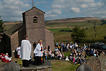 Rushbearing church service Macclesfield Forest, at St Stephens Church, Forest Chapel, Cheshire, UK.  2017. The Revd Steve Rathbone and Reverend Norma Robinson, Associate Vicar of St John's Macclesfield, who was the guest preacher.