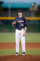 UConn Huskies starting pitcher Tim Cate (36) looks in for the sign during a game against the USF Bulls on March 23, 2018 at USF Baseball Stadium in Tampa, Florida.  UConn defeated USF 6-4.  (Mike Janes/Four Seam Images)