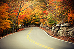 The road to Monte Sano State Park in Huntsville, Alabama during the height of fall foliage season.