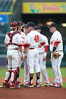 Houston Cougars assistant coach Terry Rooney (48) talks to players on the mound during the game against the Kentucky Wildcats in game two of the 2018 Shriners Hospitals for Children College Classic at Minute Maid Park on March 2, 2018 in Houston, Texas.  The Wildcats defeated the Cougars 14-2 in 7 innings.   (Brian Westerholt/Four Seam Images)