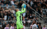 LOS ANGELES, CA - MARCH 01: GK Luis Robles #31 of Inter Miami CF jumps high for a ball during a game between Inter Miami CF and Los Angeles FC at Banc of California Stadium on March 01, 2020 in Los Angeles, California.