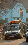 "Wreath on the roof of the hearse saying ""KEEF"" at the  funeral of the late Prodigy singer Keith Flint at St Marys Church in Bocking,  Essex today."
