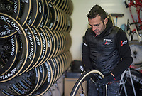 tire pressure is crucial for racing the cobbles, so every (spare) wheel is checked  for it in the morning<br /> <br /> 115th Paris-Roubaix 2017 (1.UWT)<br /> One Day Race: Compiègne › Roubaix (257km)