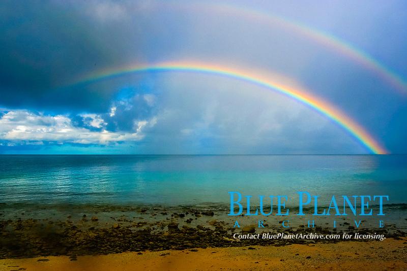 Double rainbow and rainstorm, Namu atoll, Marshall Islands, Micronesia, Pacific Ocean