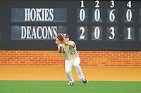 Wake Forest Demon Deacons left fielder Grant Shambley #43 catches a fly ball against the Virginia Tech Hokies at Wake Forest Baseball Park on April 21, 2012 in Winston-Salem, North Carolina.  The Demon Deacons defeated the Hokies 8-6.  (Brian Westerholt/Four Seam Images)