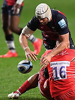 30th September 2020; Ashton Gate Stadium, Bristol, England; Premiership Rugby Union, Bristol Bears versus Leicester Tigers; Dave Attwood of Bristol Bears loses the ball forwards in the tackle from Shalva Mamukashvili of Leicester Tigers