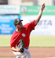 Batavia Muckdogs pitcher Iden Nazario #28 delivers a pitch during a simulated game before the teams pre-season pep rally at Dwyer Stadium on June 15, 2011 in Batavia, New York.  Photo By Mike Janes/Four Seam Images