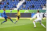 17.10.2020, xmeix, 1.Fussball Bundesliga,      TSG 1899 Hoffenheim - Borussia Dortmund, emspor. v.l.n.r, <br /> Kevin Akpoguma (TSG 1899 Hoffenheim), Jadon Sancho (Borussia Dortmund), Oliver Baumann (TSG 1899 Hoffenheim) beim Spiel in der Fussball Bundesliga, TSG 1899 Hoffenheim - Borussia Dortmund.<br /> <br /> Foto © PIX-Sportfotos *** Foto ist honorarpflichtig! *** Auf Anfrage in hoeherer Qualitaet/Aufloesung. Belegexemplar erbeten. Veroeffentlichung ausschliesslich fuer journalistisch-publizistische Zwecke. For editorial use only. DFL regulations prohibit any use of photographs as image sequences and/or quasi-video.