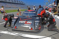 4 July, 2009, Daytona Beach, Florida USA.#12 Penske Racing Porsche/Riley of Timo Bernhard & Romain Dumas makes a pit stop..©2009 F.Peirce Williams, USA.