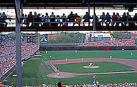 Ballparks: Chicago Wrigley Field, showing Press Box. Late innings, overcast afternoon, 1978.