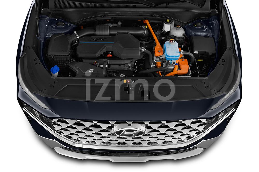 Car Stock 2021 Hyundai Santa-FE Shine 5 Door SUV Engine  high angle detail view
