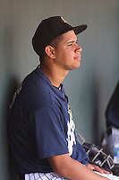 Charleston Riverdogs catcher Gary Sanchez #35 in the dugout during a game against the Delmarva Shorebirds at Joseph P. Riley Ballpark in Charleston, South Carolina on July 10, 2011. Charleston defeated Delmarva 5-4 in the 2nd game of a doubleheader.   Robert Gurganus/Four Seam Images