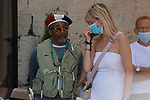 Cannes Film Festival 2021. 74th edition of the 'Festival International du Film de Cannes' under Covid-19 outbreak on 14/07/2021 in Cannes, France. Celebrity Sightings, left, Spike Lee wearing a tricolor french hat for the French National Day in talks with a personn