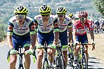 The peloton led by Intermarché-Wanty-Gobert Matériaux with Red Jersey Odd Christian Eiking (NOR) during Stage 15 of La Vuelta d'Espana 2021, running 197.5km from Navalmoral de la Mata to El Barraco, Spain. 29th August 2021.    <br /> Picture: Cxcling | Cyclefile<br /> <br /> All photos usage must carry mandatory copyright credit (© Cyclefile | Cxcling)